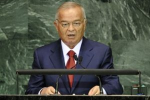 O'zbekiston prezidenti Islom Karimov BMT minbarida, © Emmanuel Dunand/Getty Images